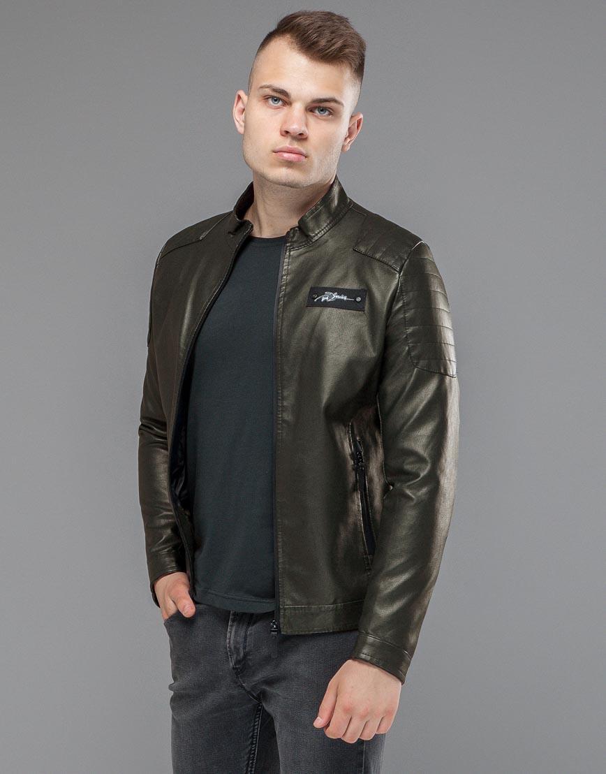 Куртка оригинальная короткая цвета хаки модель 36361 фото 2