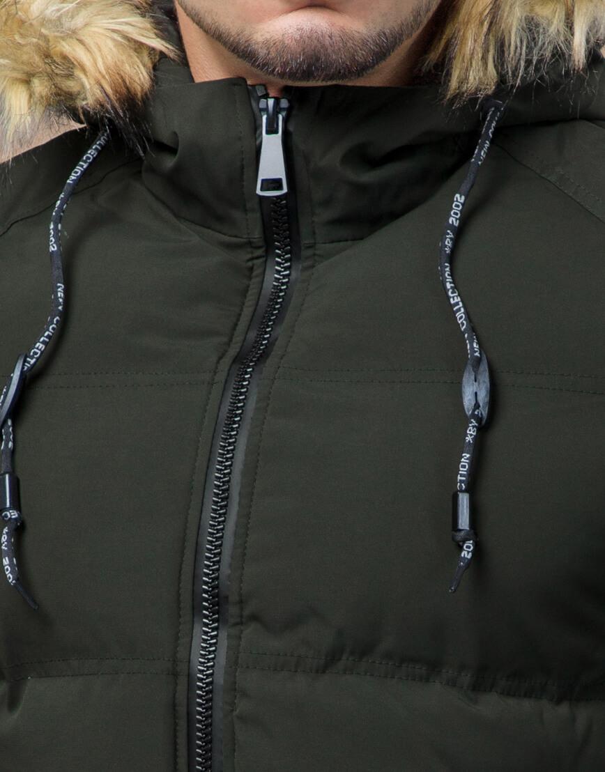 Куртка темно-зеленая зимняя брендовая модель 25270 фото 5