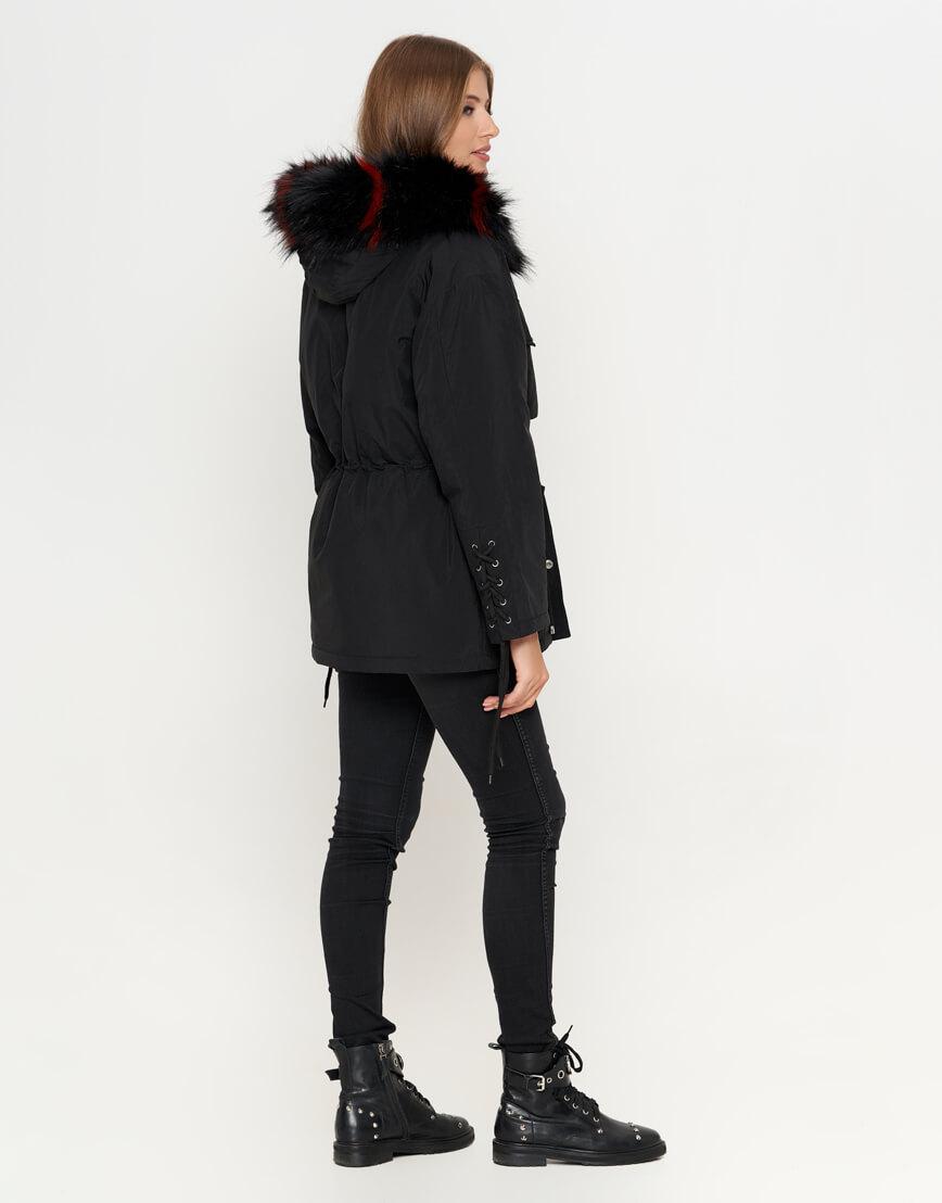Черная куртка женская с опушкой модель 8812