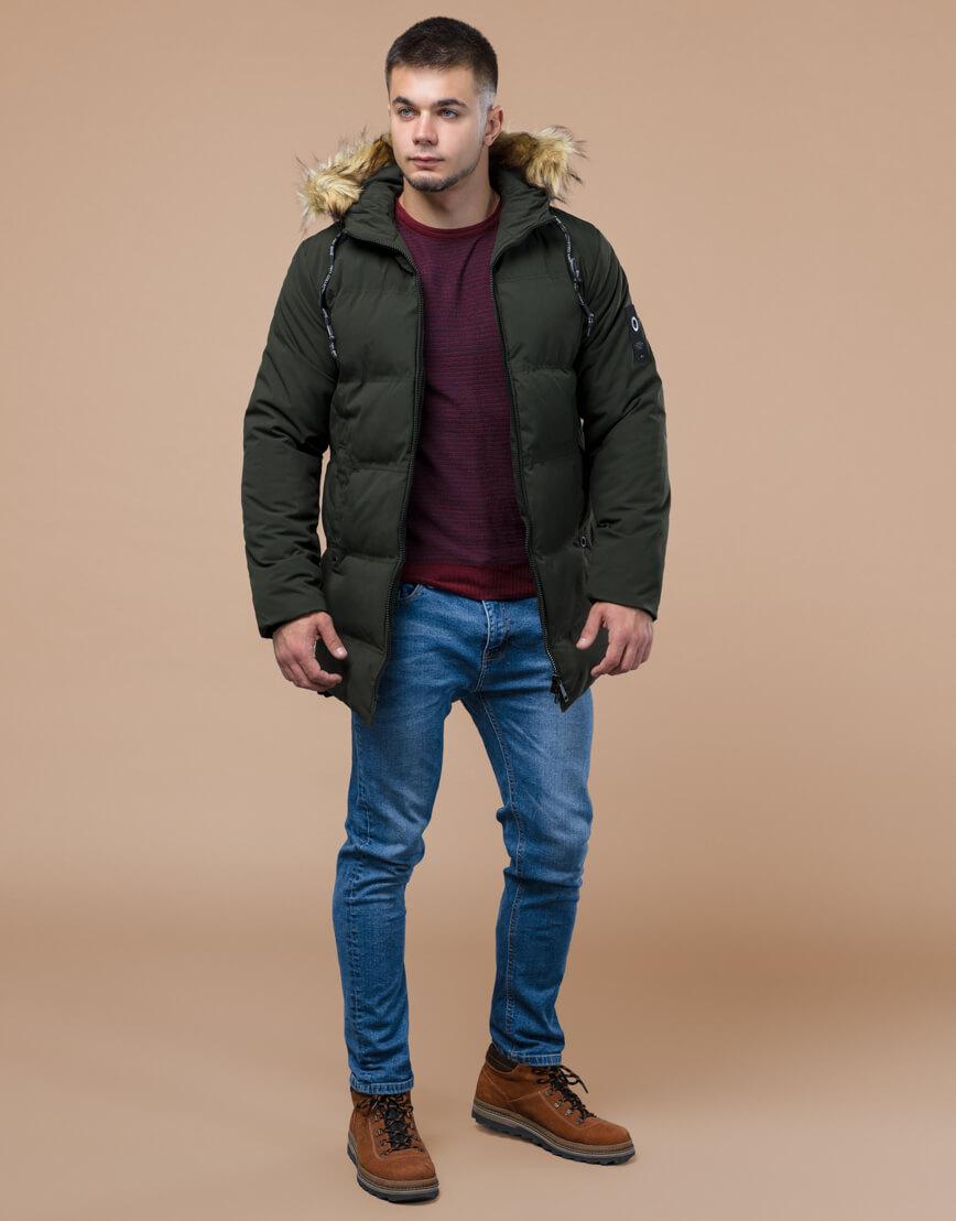 Куртка темно-зеленая зимняя брендовая модель 25270 фото 2