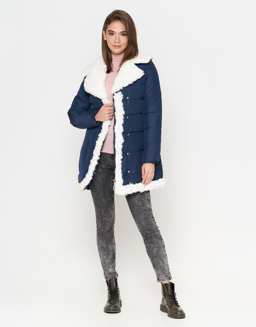 Синяя куртка теплая женская модель 2162 фото 3
