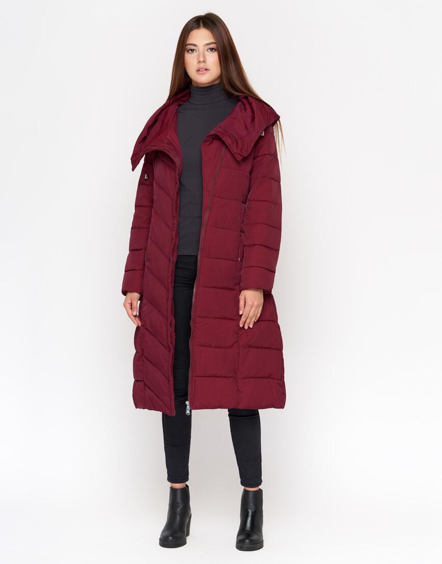 Бордовая куртка женская практичная модель DR23