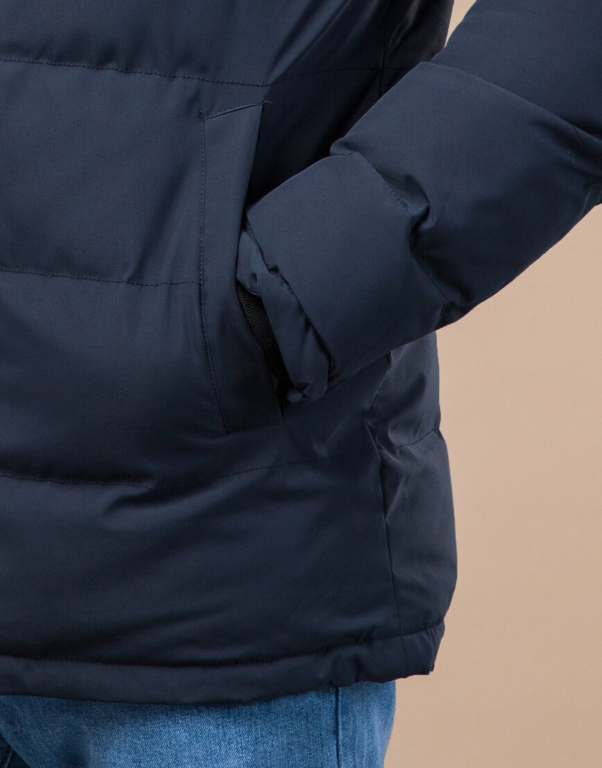 Куртка молодежная темно-синяя на зиму модель 25000