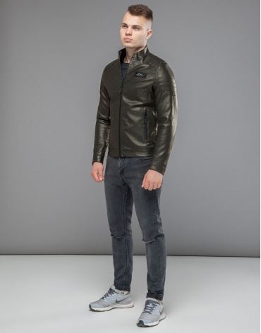 Куртка оригинальная короткая цвета хаки модель 36361 фото 1