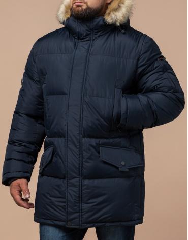 Высококачественная куртка темно-синяя большого размера модель 2084 фото 1