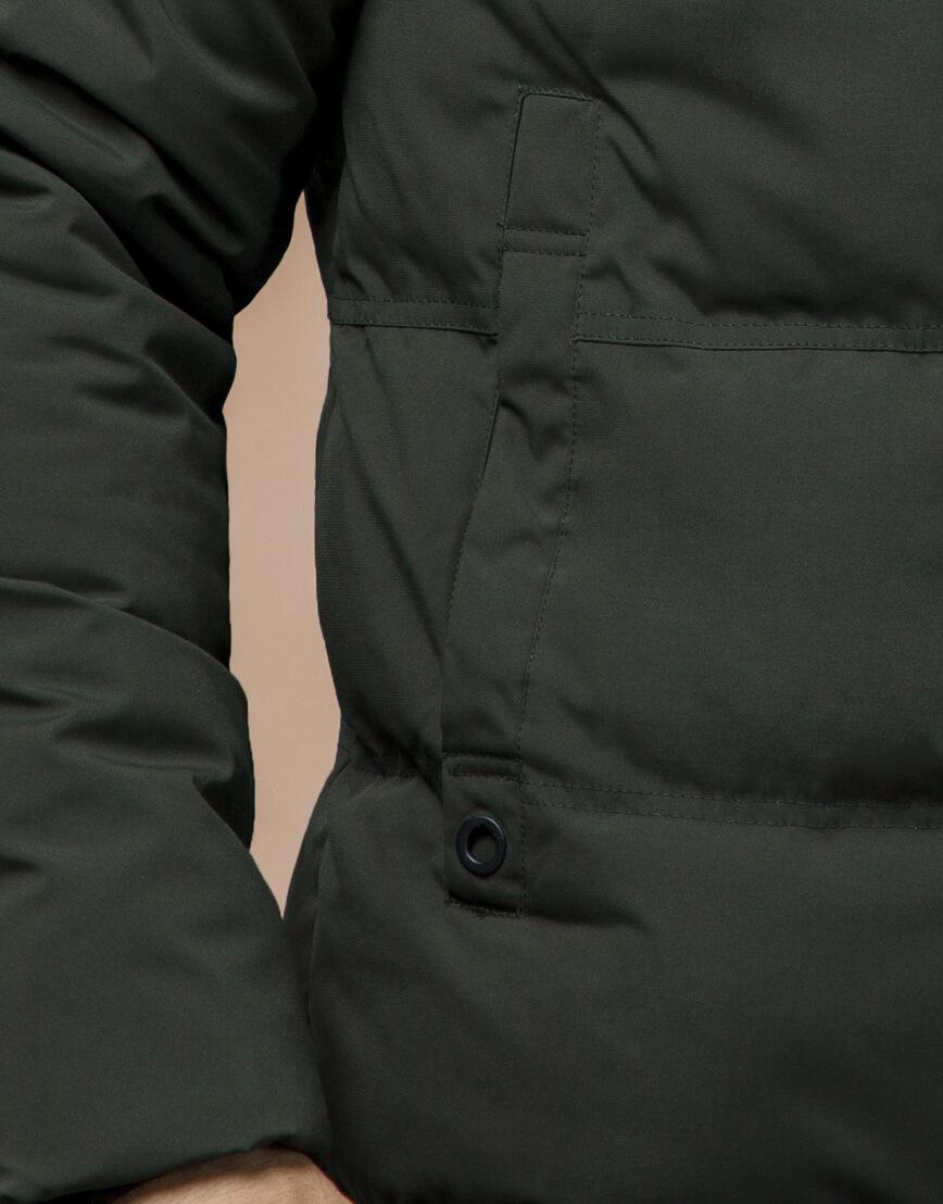 Куртка темно-зеленая зимняя брендовая модель 25270 фото 6