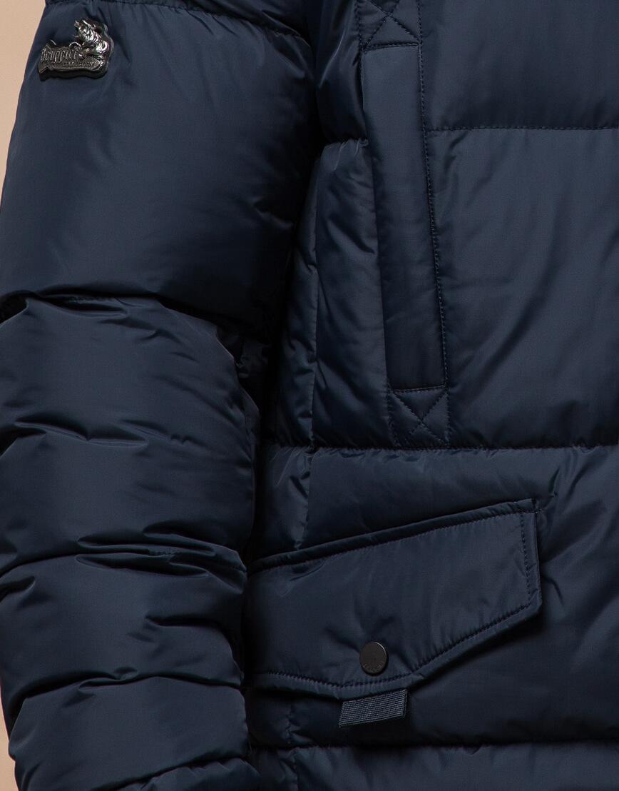 Высококачественная куртка темно-синяя большого размера модель 2084 фото 5