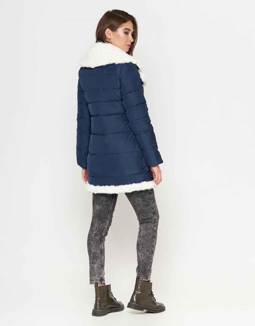 Синяя куртка теплая женская модель 2162 фото 4