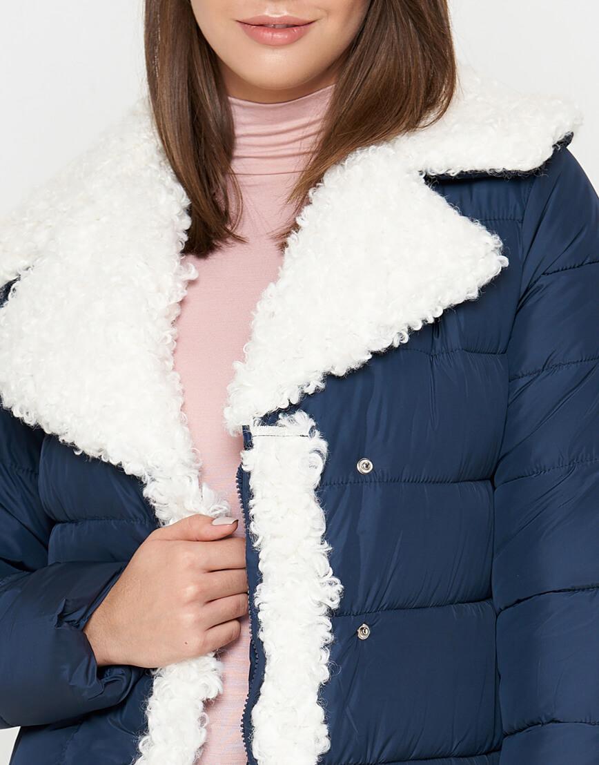 Синяя куртка теплая женская модель 2162 фото 5