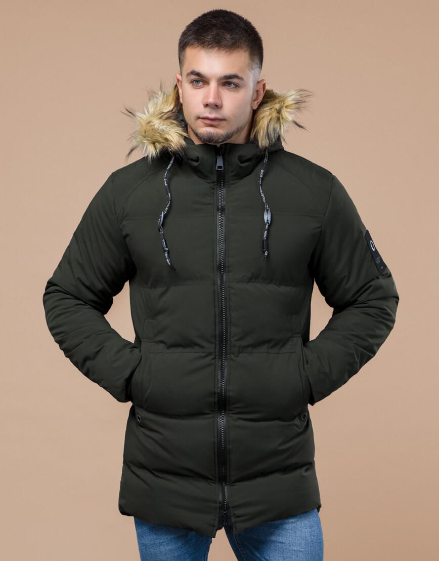 Куртка темно-зеленая зимняя брендовая модель 25270 фото 3