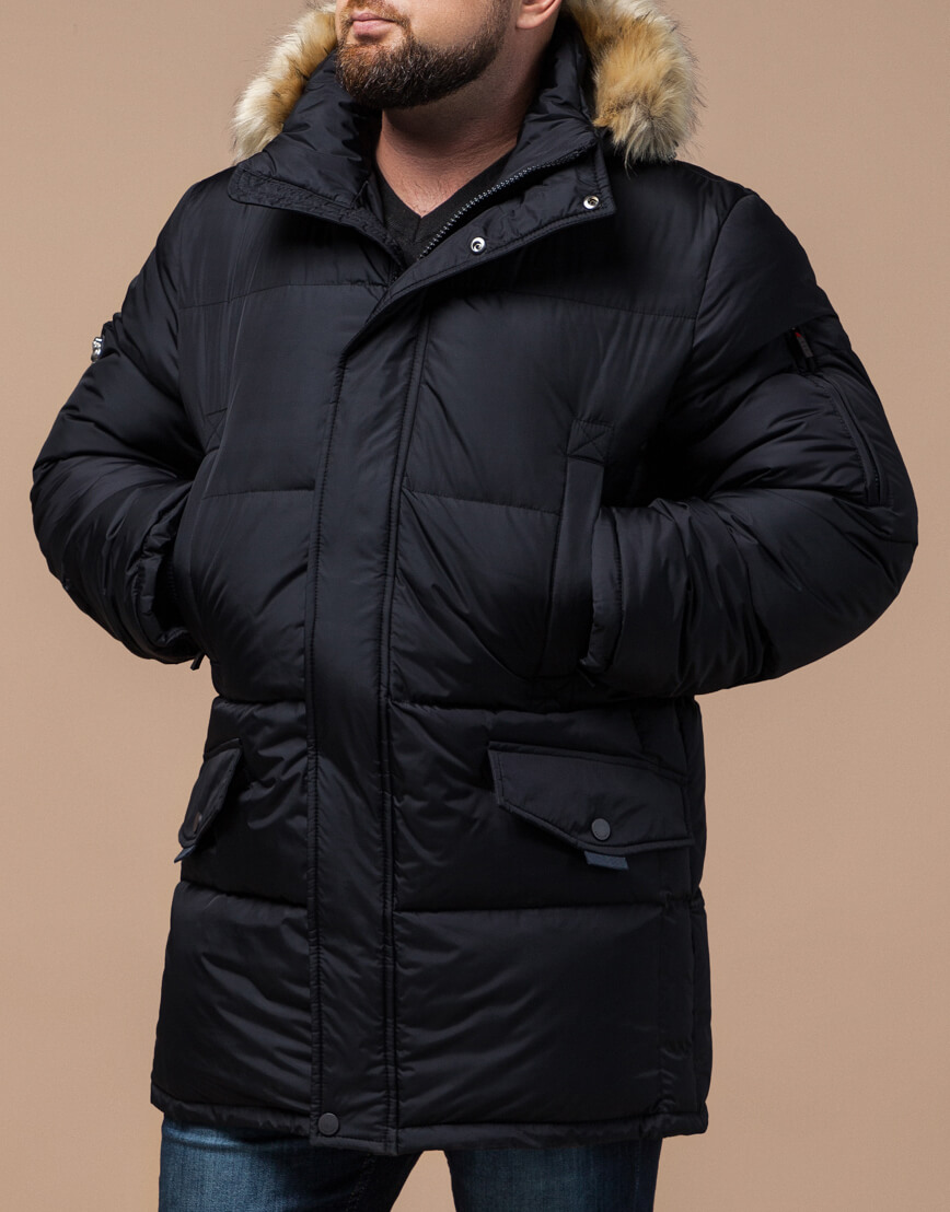 Черная куртка удобная большого размера модель 2084 фото 2