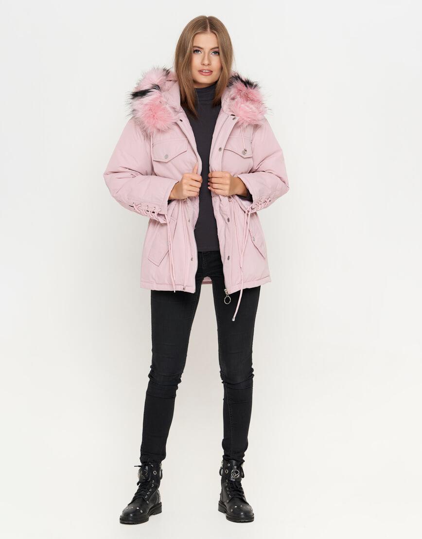 Куртка розовая женская с кнопками модель 8812