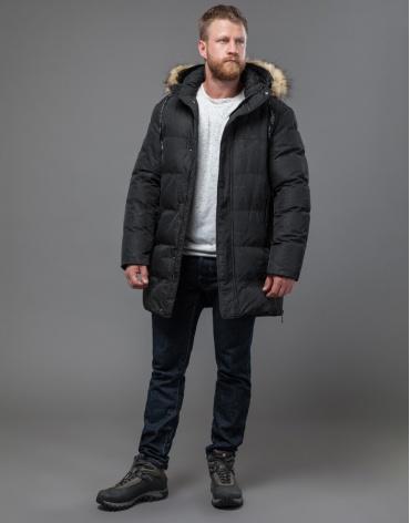 Черная мужская дизайнерская куртка модель 77080 оптом