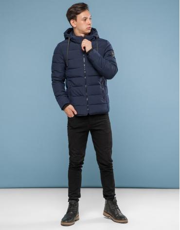 Брендовая темно-синяя куртка подростковая модель 6016-1 оптом