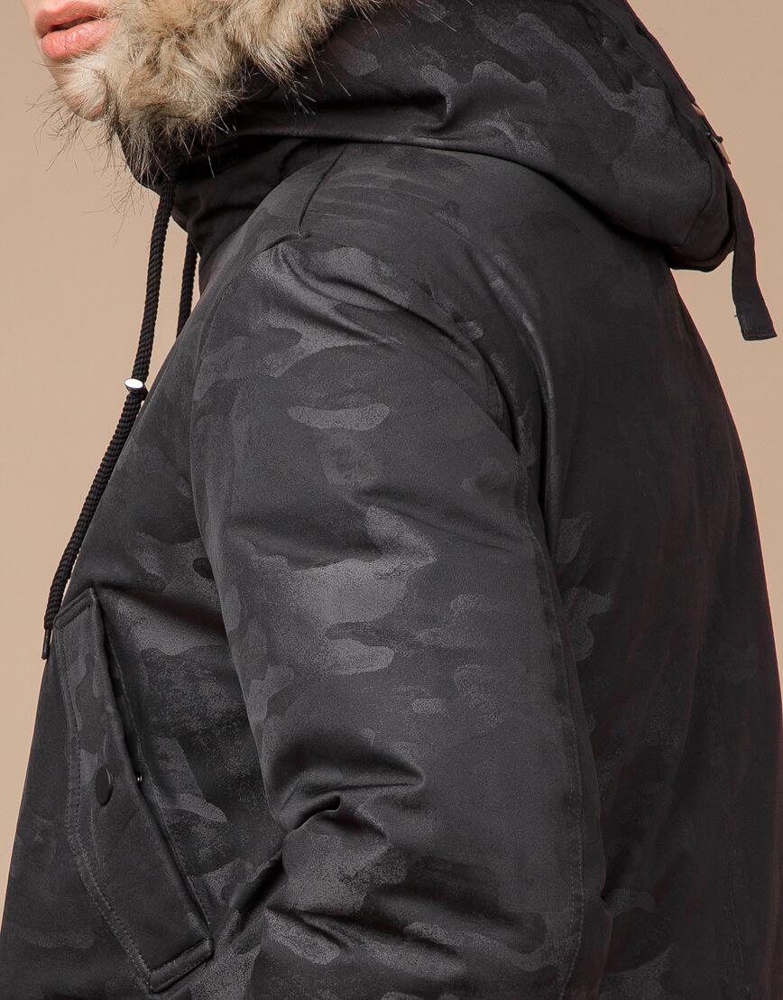 Черная молодежная дизайнерская парка модель 25500
