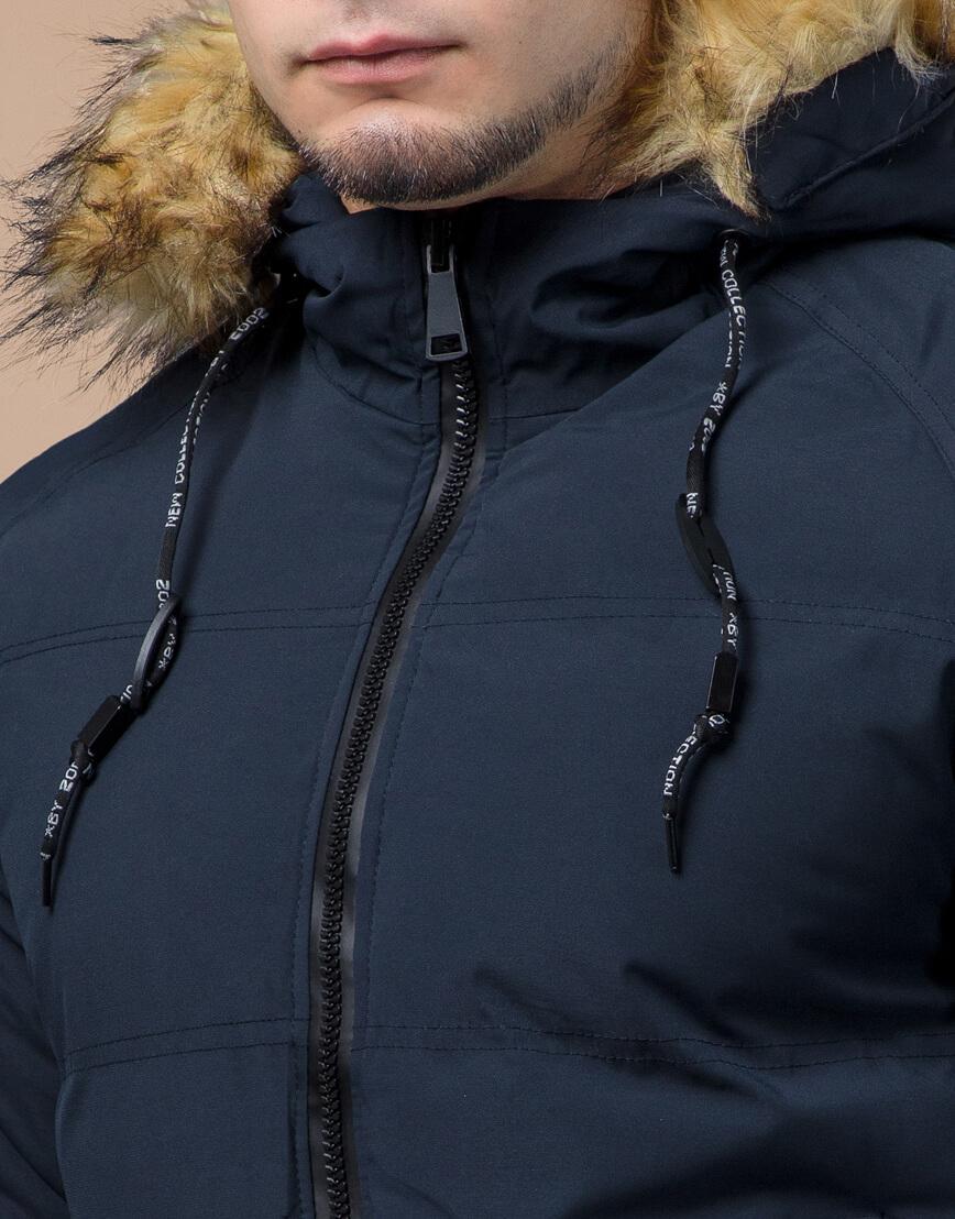 Темно-синяя куртка зимняя удобного кроя модель 25270