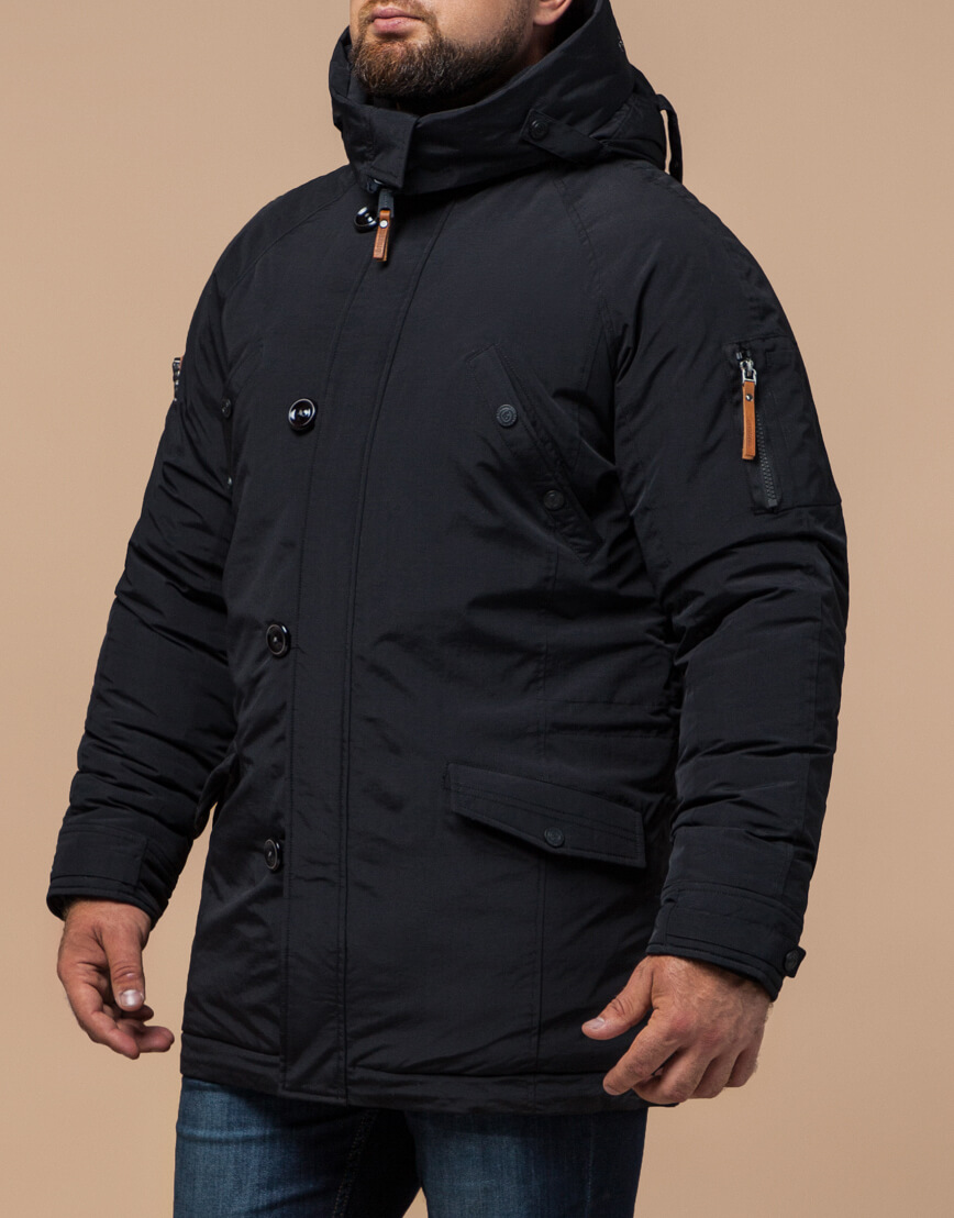 Черная парка на зиму для мужчин модель 2694 оптом