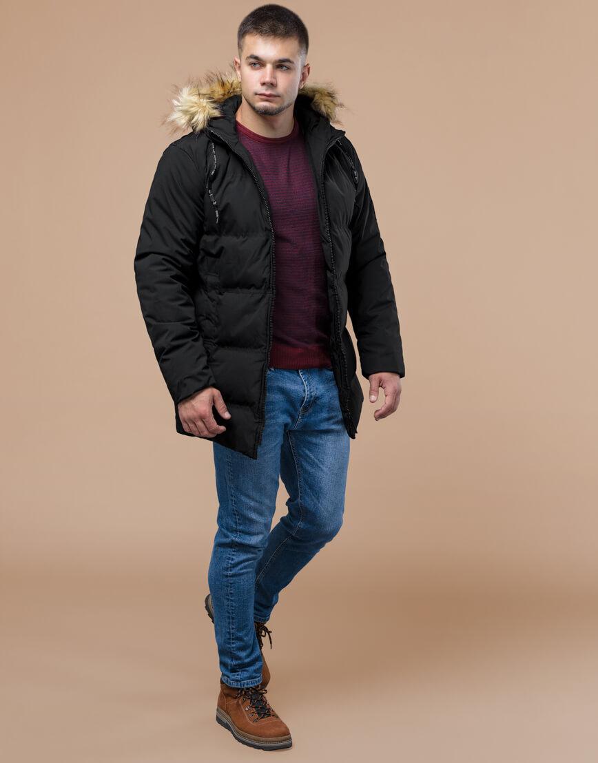 Черная куртка оригинального дизайна зимняя модель 25270 фото 1
