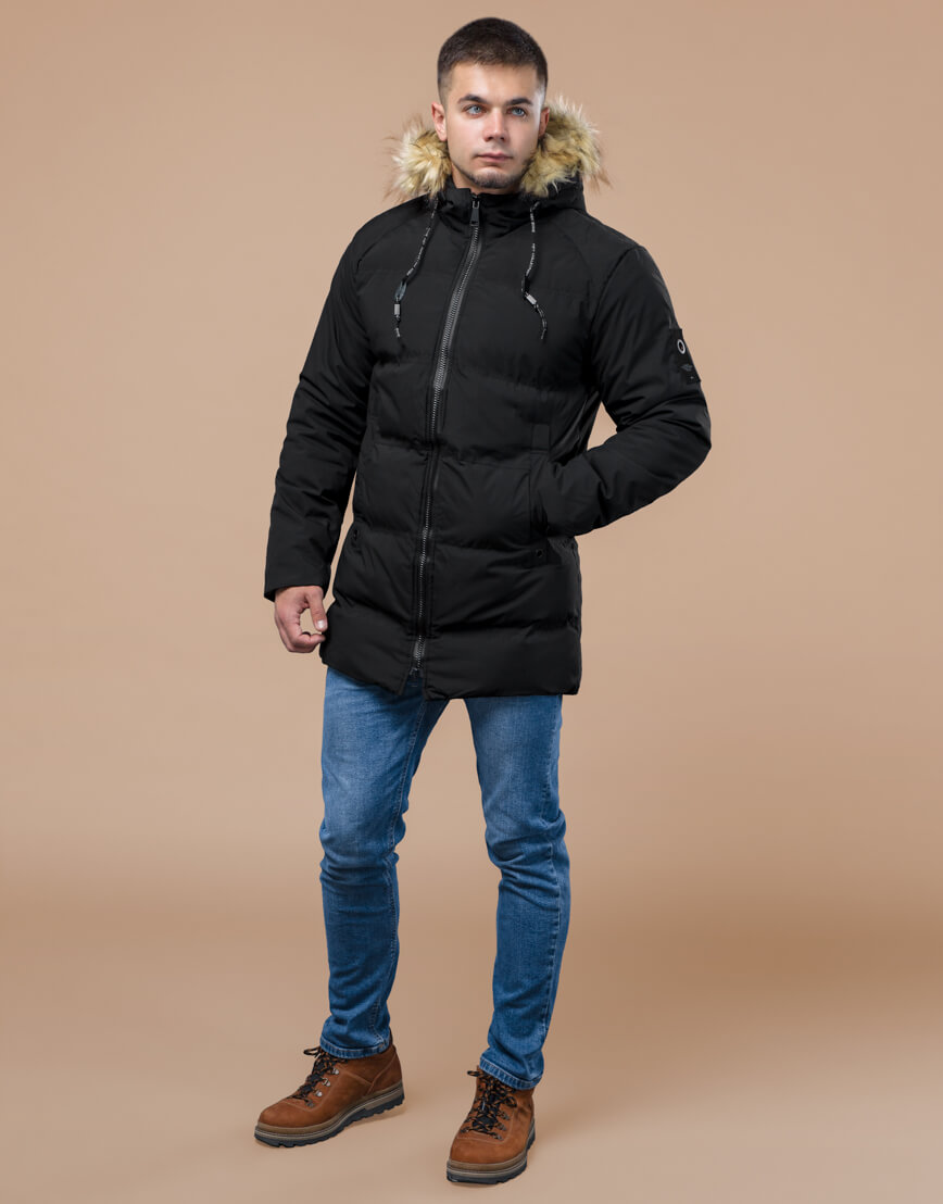 Черная куртка оригинального дизайна зимняя модель 25270 фото 2