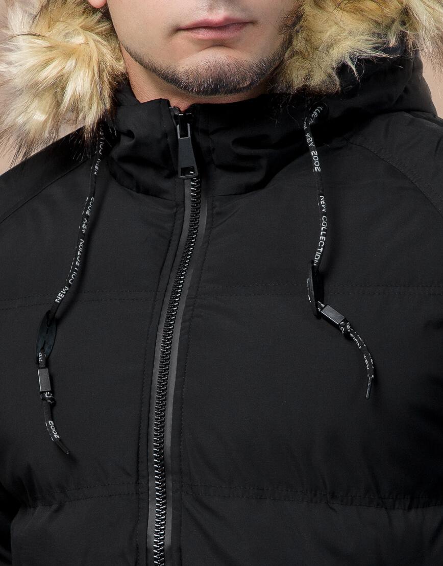 Черная куртка оригинального дизайна зимняя модель 25270 фото 5