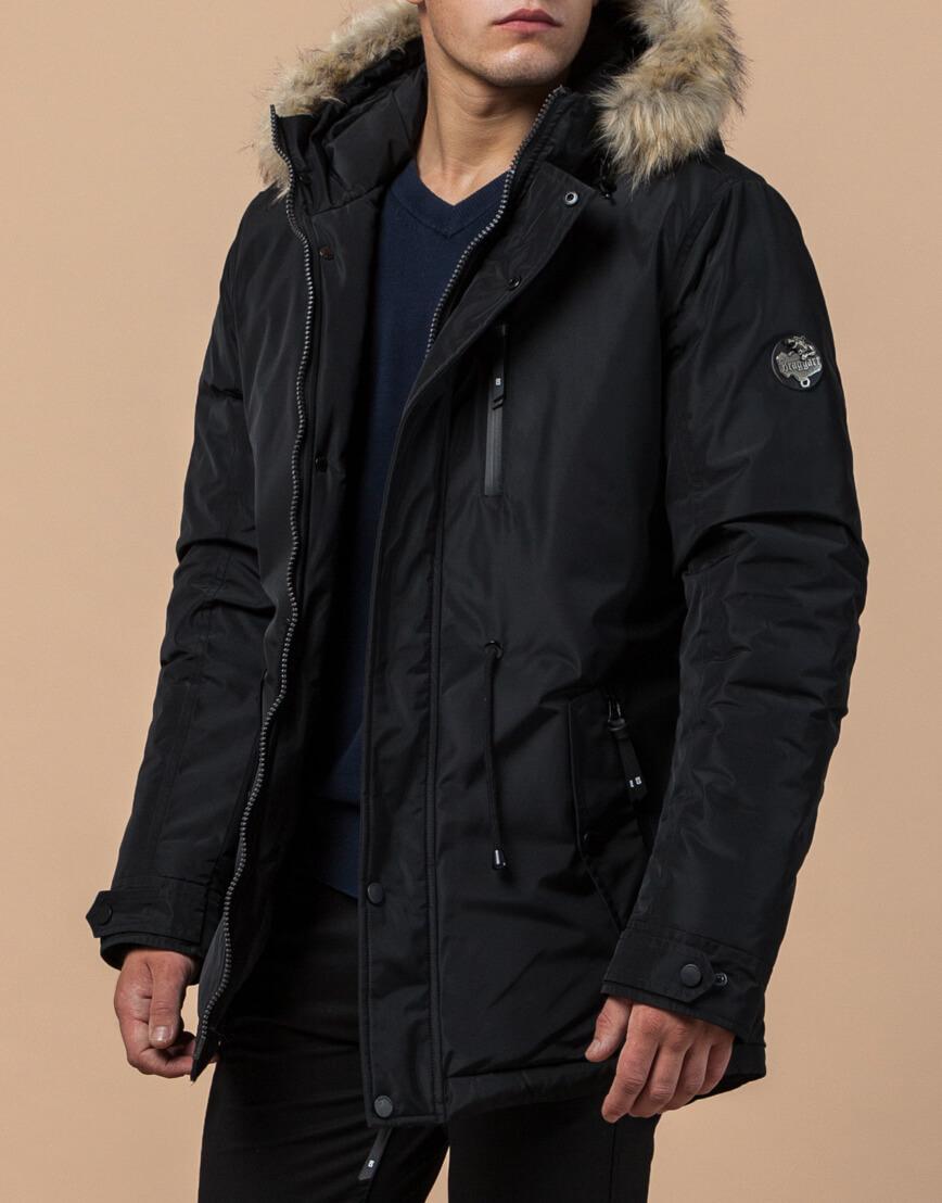 Мужская черная парка на зиму модель 31720 оптом