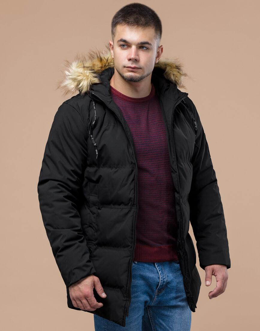 Черная куртка оригинального дизайна зимняя модель 25270 фото 3