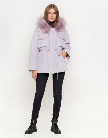 Женская светло-фиолетовая куртка с капюшоном модель 8812