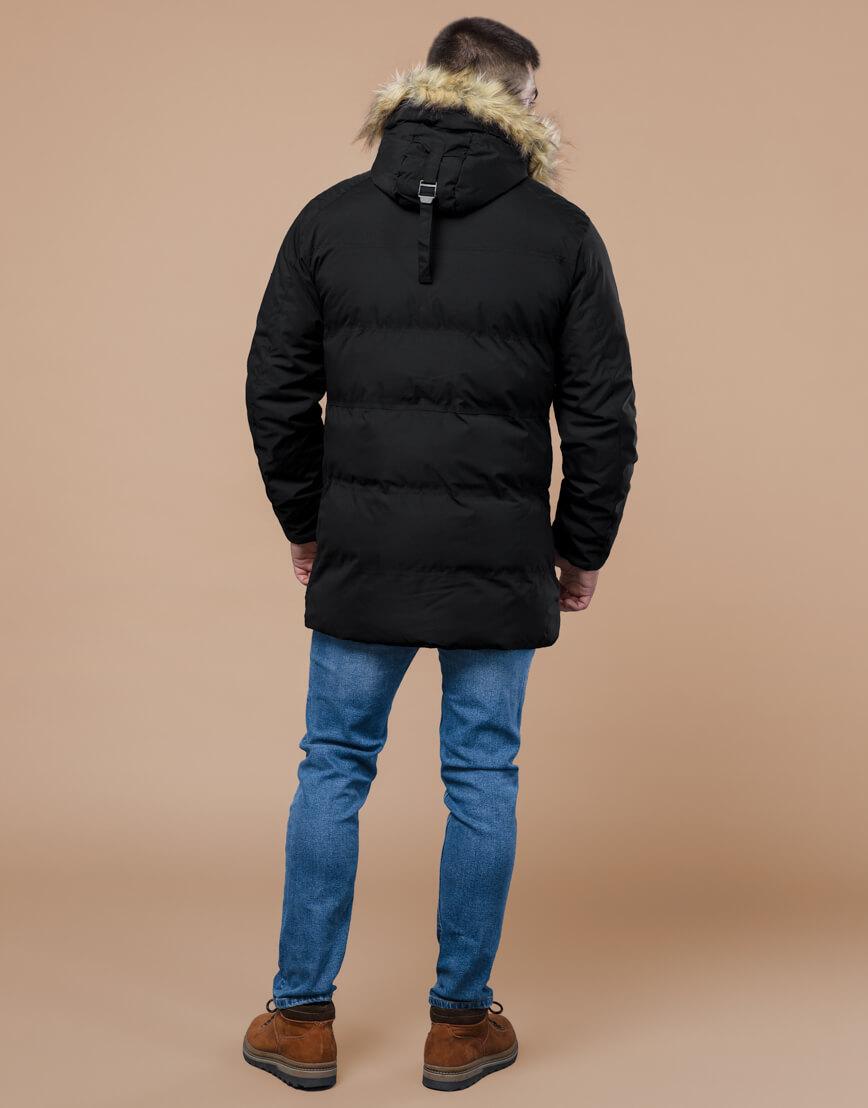 Черная куртка оригинального дизайна зимняя модель 25270 фото 4