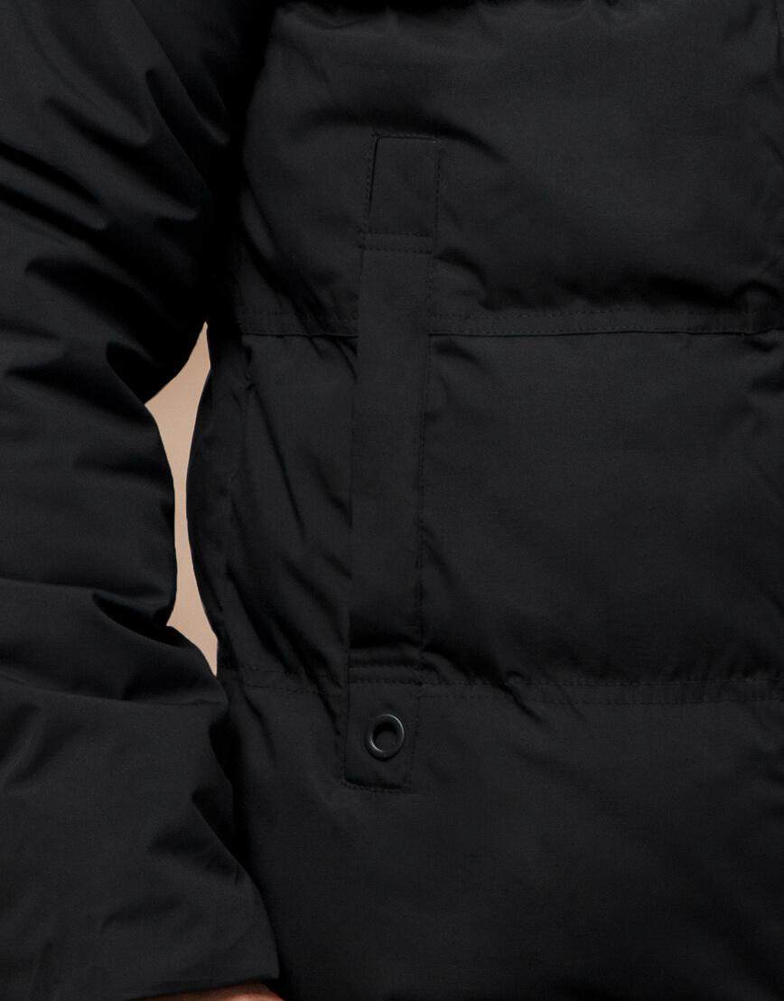 Черная куртка оригинального дизайна зимняя модель 25270 фото 6