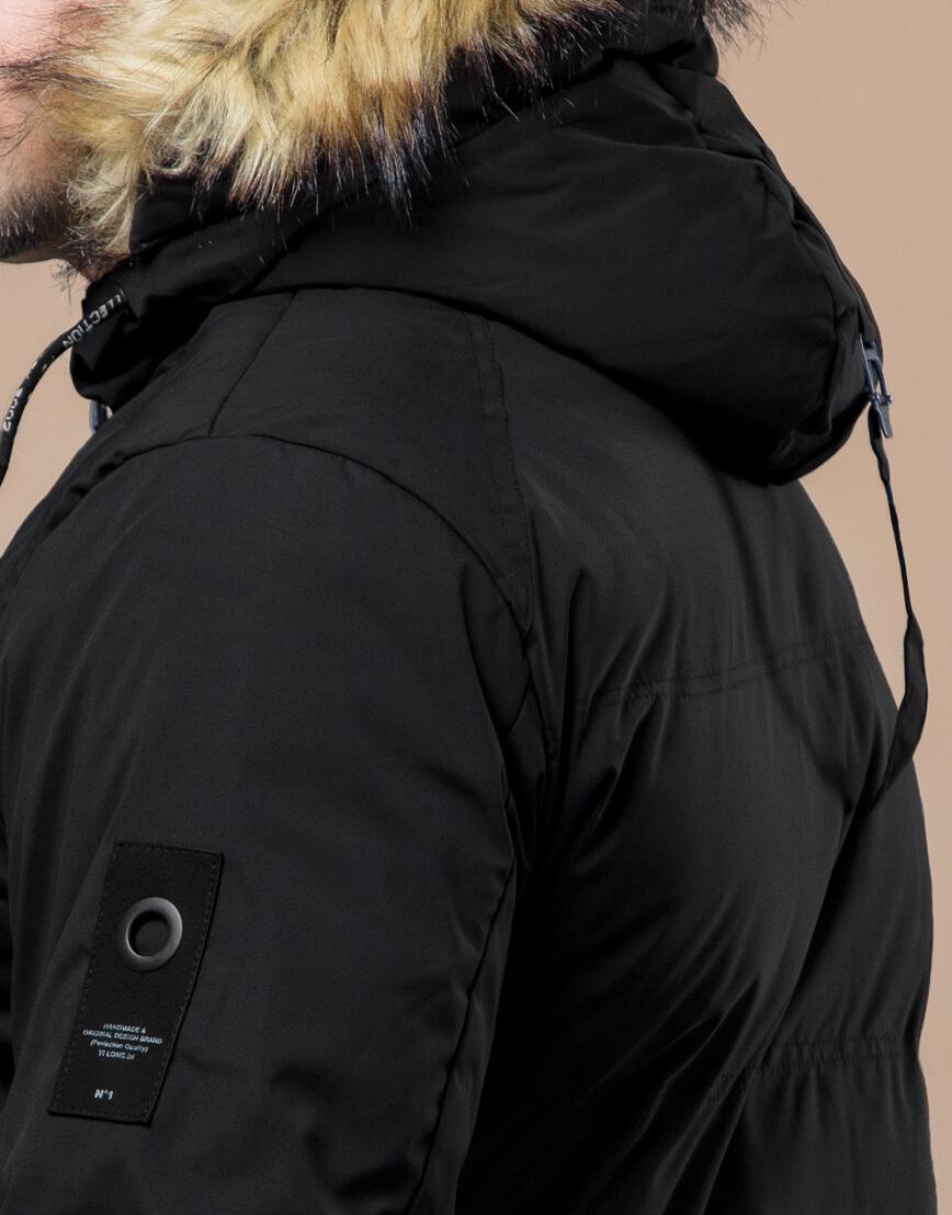 Черная куртка оригинального дизайна зимняя модель 25270 фото 7