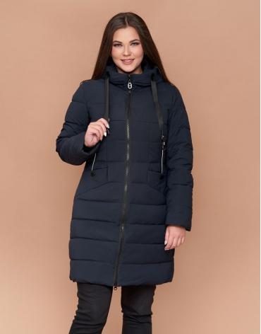 Куртка женская фирменная зимняя темно-синяя большого размера модель 25275