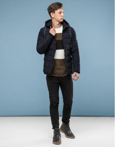 Качественная куртка черного цвета подростковая модель 6016-1 оптом