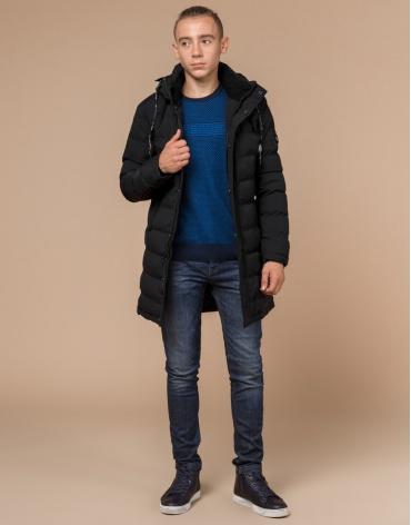 Куртка подростковая черная с мехом модель 25200
