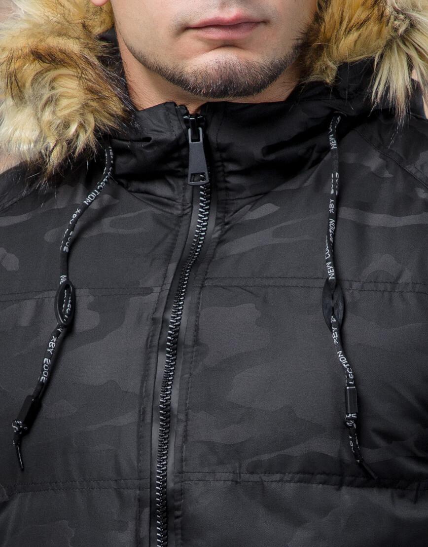 Черная фирменная дизайнерская куртка подростковая модель 25350 оптом