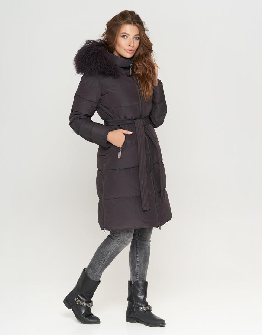 Графитовая женская куртка модная модель 085 фото 2