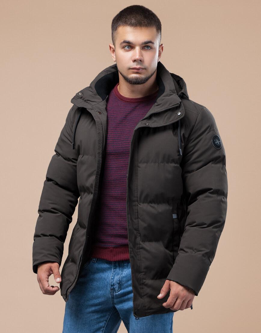Куртка стандартной длины зимняя цвета кофе модель 25280 фото 3
