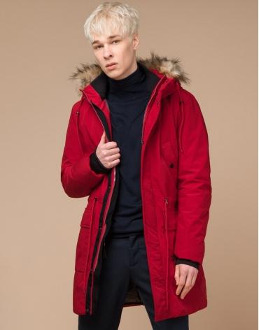 Парка подростковая красного цвета модель 25690