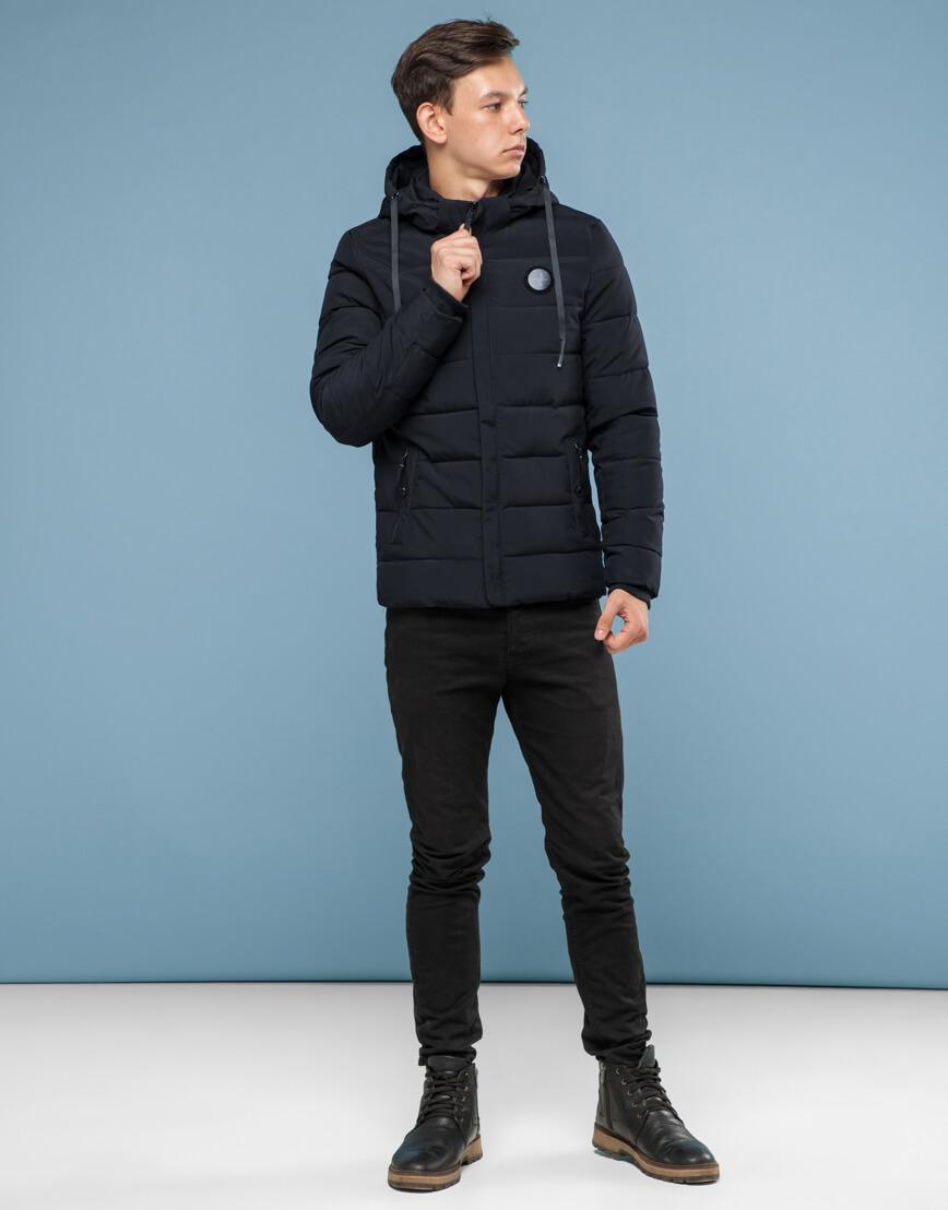 Куртка черного цвета подростковая трендовая модель 6015 фото 1