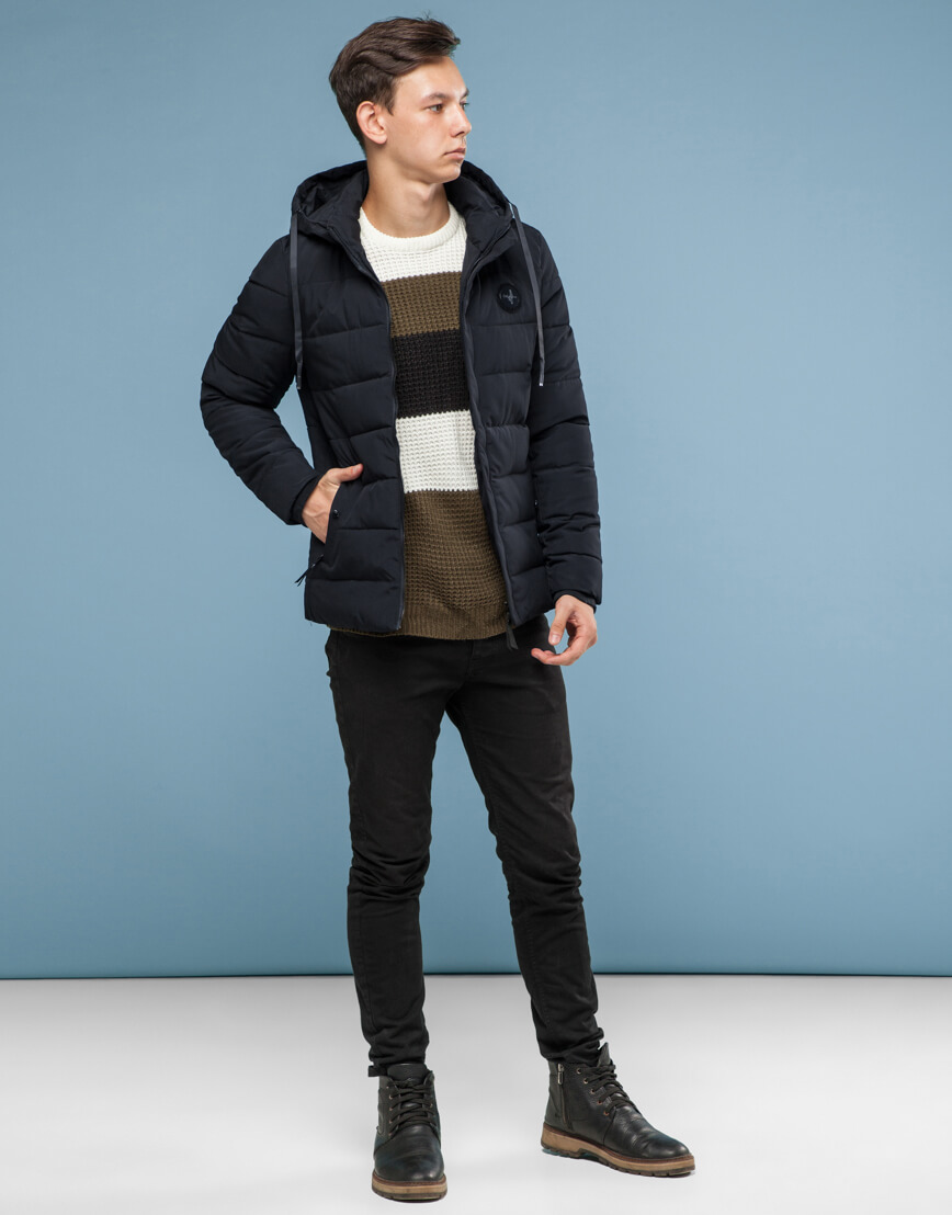 Куртка черного цвета подростковая трендовая модель 6015 фото 2