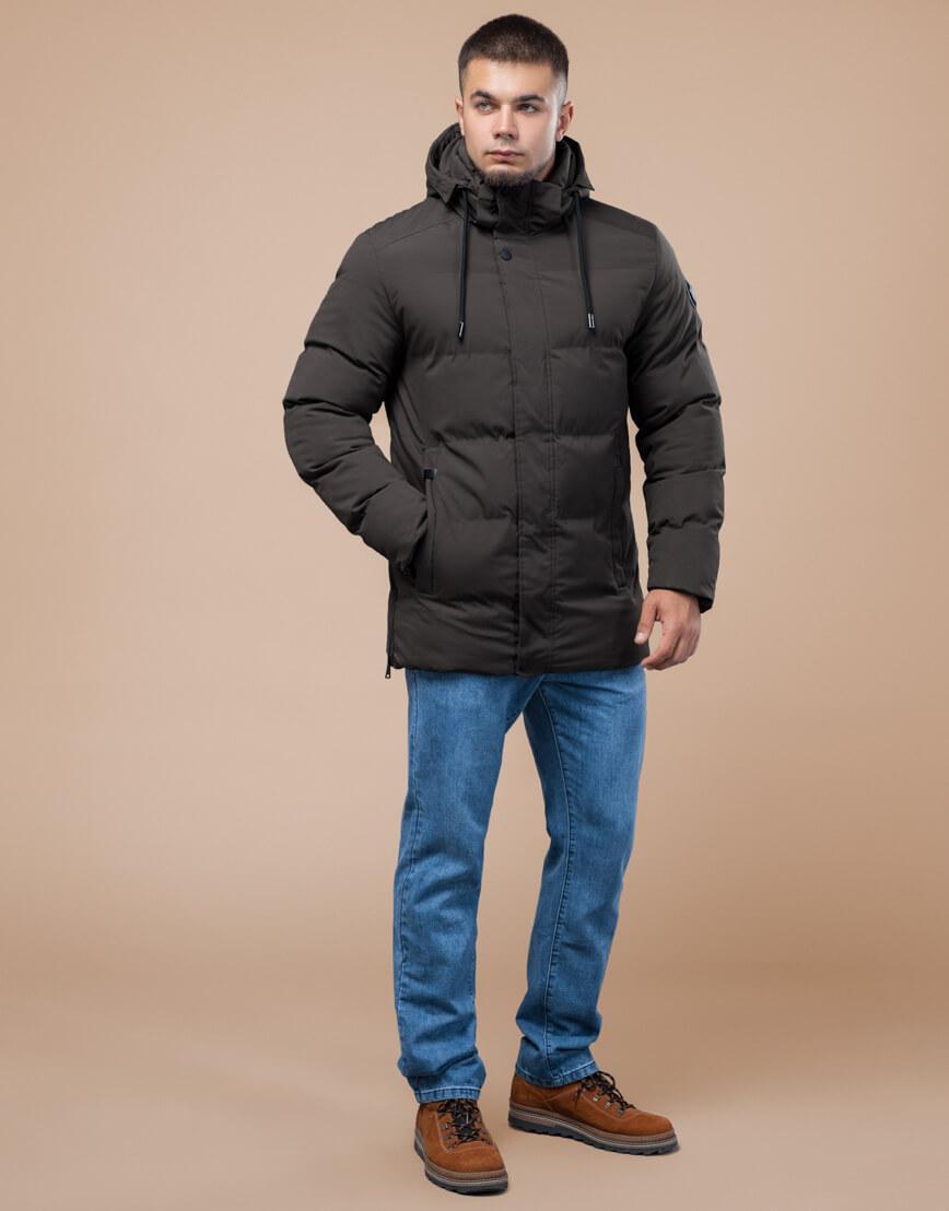Куртка стандартной длины зимняя цвета кофе модель 25280 фото 2