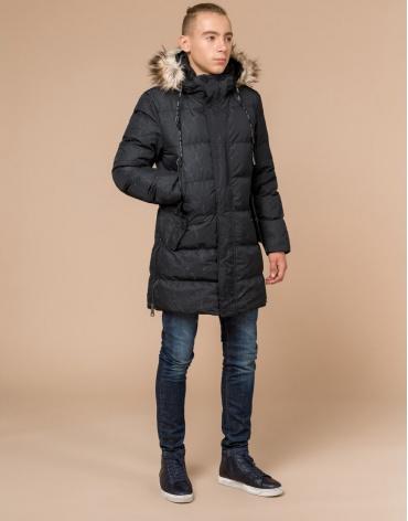 Дизайнерская молодежная черная куртка брендовая модель 25070
