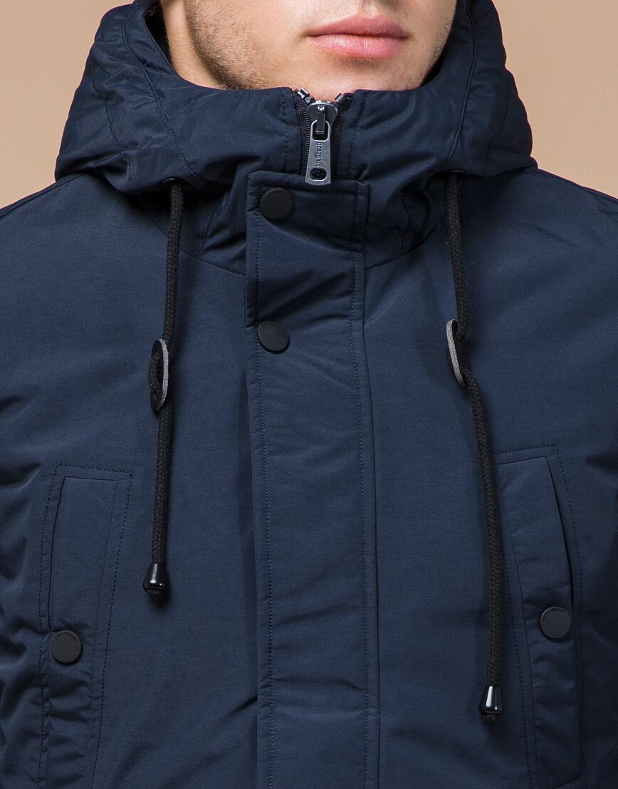 Качественная синяя парка зимняя с капюшоном модель 36640 фото 4