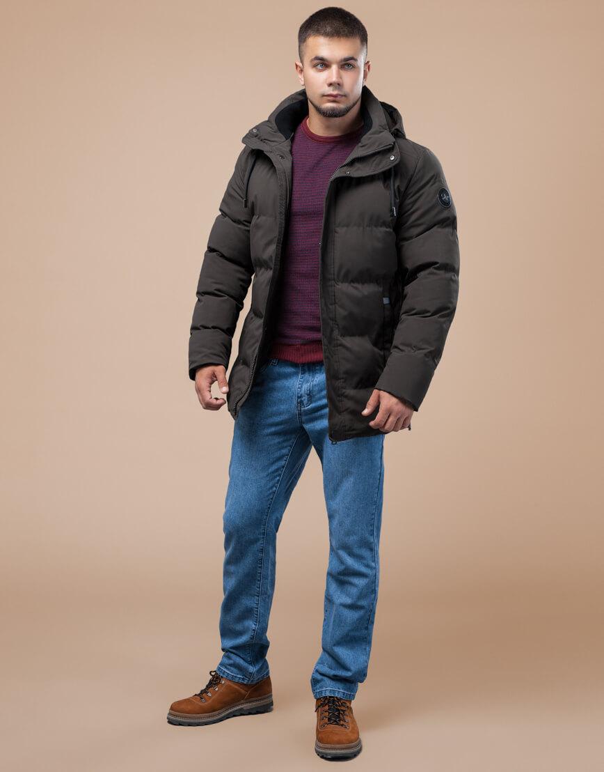 Куртка стандартной длины зимняя цвета кофе модель 25280 фото 1