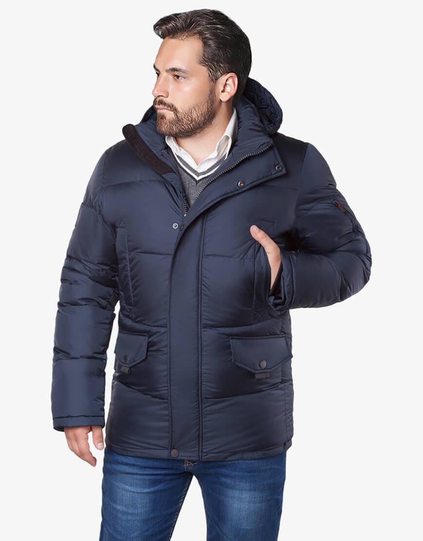 Темно-синяя куртка большого размера практичная модель 3284 фото 2