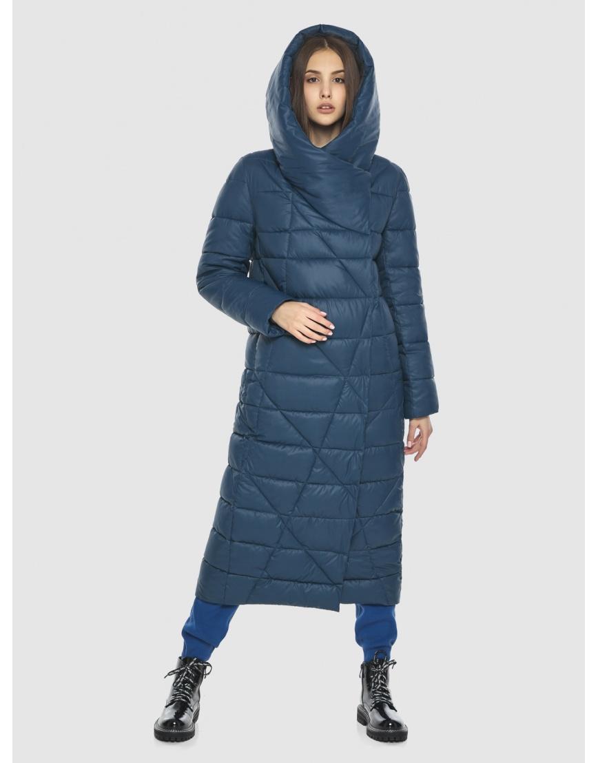 Синяя длинная женская куртка Vivacana 9470/21 фото 2