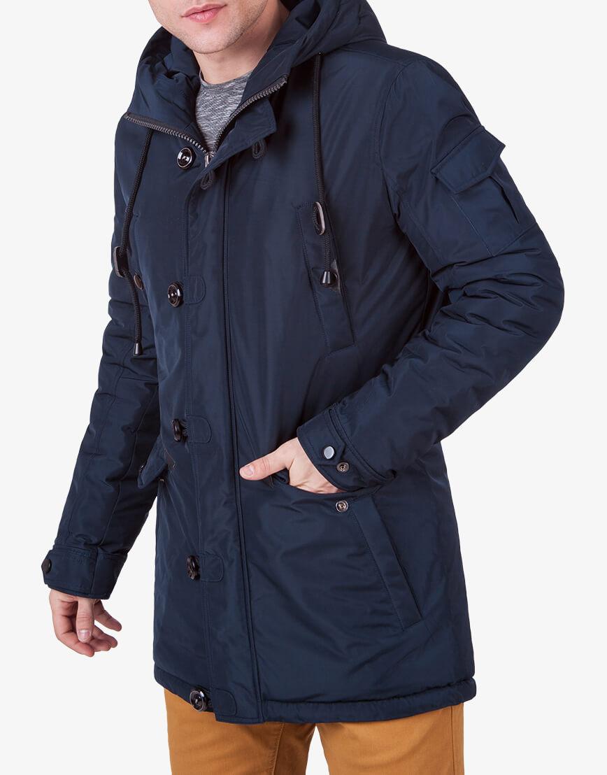 Парка мужская темно-синего цвета зимняя модель 3135 оптом