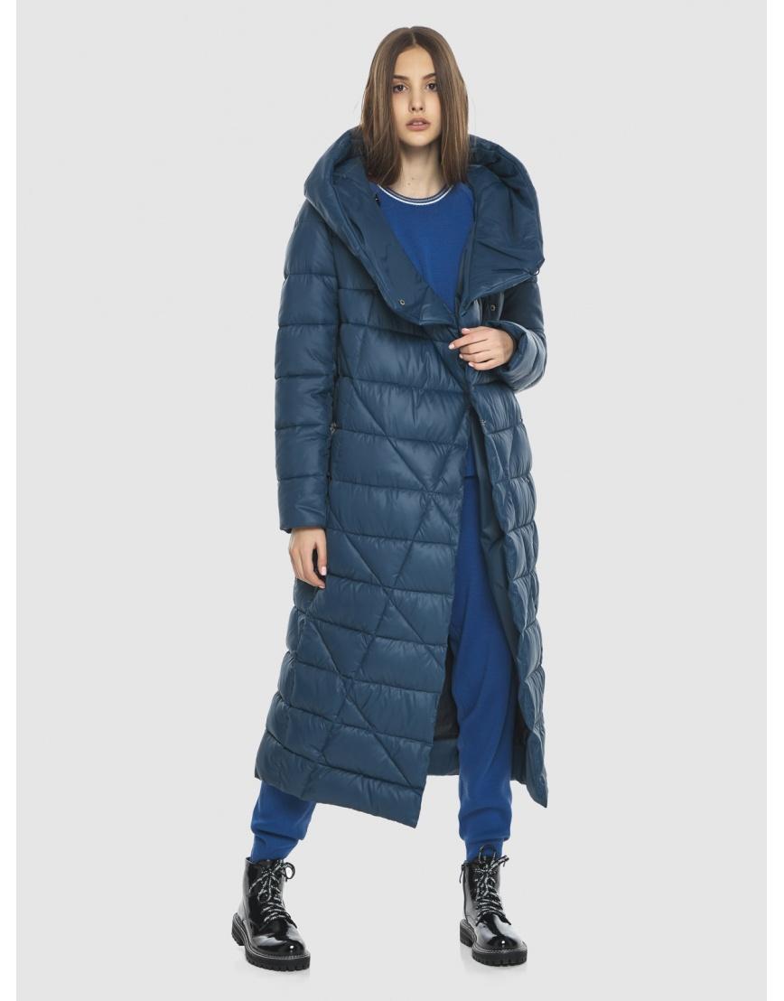 Синяя длинная женская куртка Vivacana 9470/21 фото 6