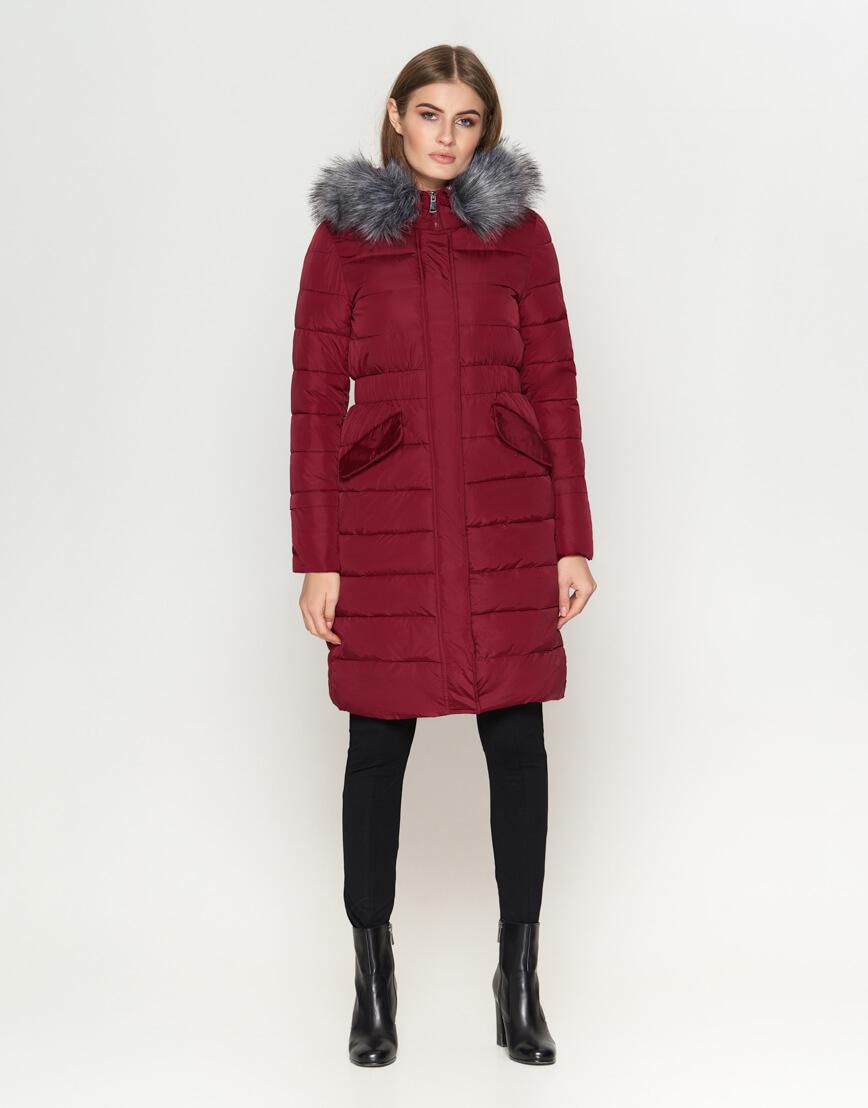 Фирменная куртка женская бордовая модель 8606 фото 3