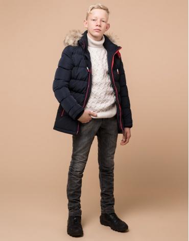Куртка темно-синяя комфортная детская модель 68255