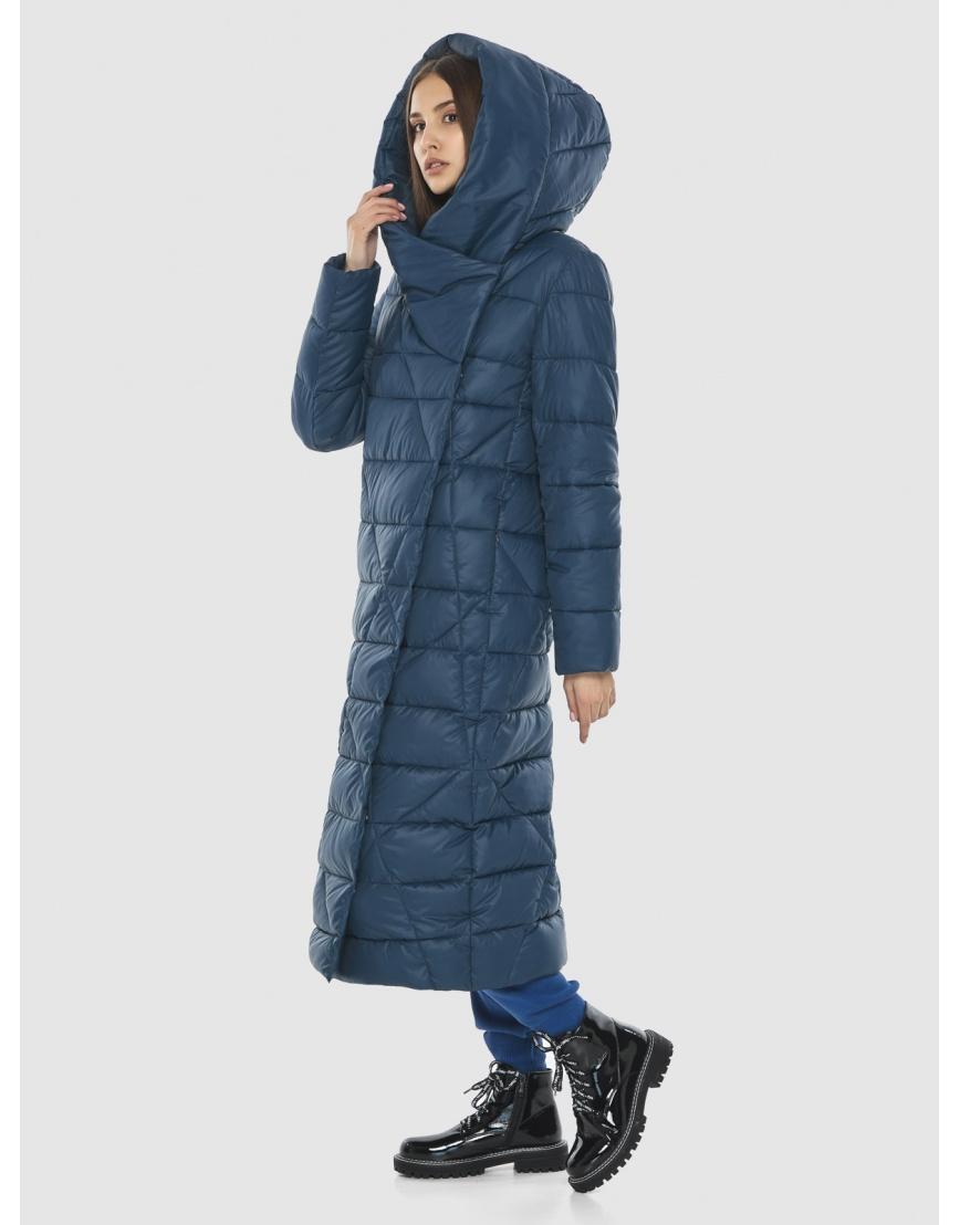 Синяя длинная женская куртка Vivacana 9470/21 фото 5